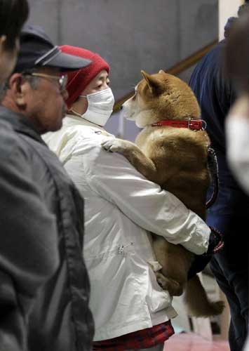 A man holds his dog as they wait to be scanned for radiation exposure at a temporary scanning center for residents living close to the quake-damaged Fukushima Dai-ichi nuclear power plant Wednesday, March 16, 2011, in Koriyama, Fukushima Prefecture, Japan.  <span class=meta>(&#40;AP Photo&#47;Gregory Bull&#41;)</span>